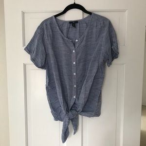 Button Down Tie-Front Tee